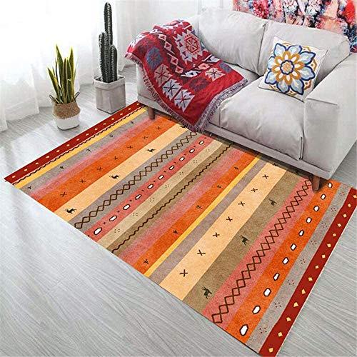 ANBAI Tappeto Morbido Soggiorno Tappeti Arancione linea geometrica modello soggiorno tappeto arancione antiscivolo insonorizzato igroscopico tappeti arancione