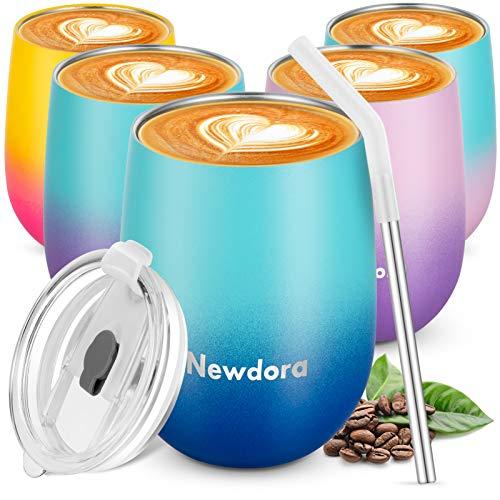 Newdora Wiederverwendbarer Reisebecher, doppelwandig, Vakuum-Isolierbecher mit auslaufsicherem Deckel für Kaffee, Tee, Cocktail, Milch und Tee, 360 ml (Farbverlauf blau)