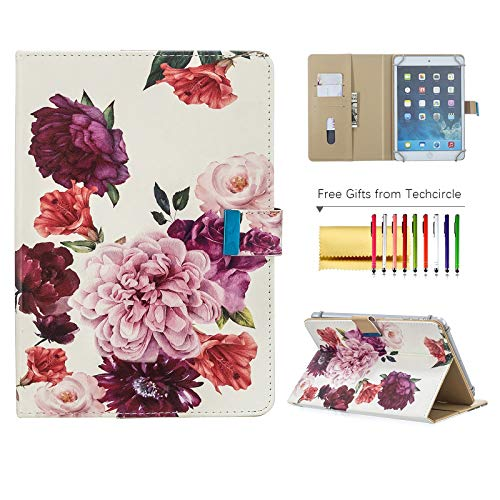 Universal Case for 8 Inch Tablet, Techcircle Folio Wallet Stand Magnetic Flip Leather Protective Cover for Samsung Tab A 8 / Lenovo Tab 4 8 / Amazon/RCA and More 8' Android Tablets, Peony Flowers