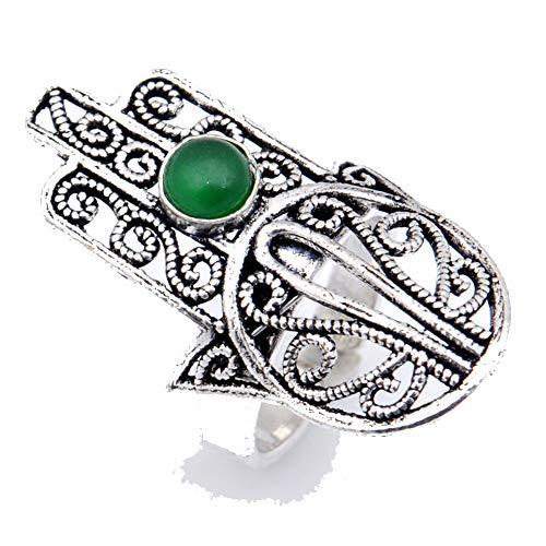 Anillo de ónix verde, chapado en plata oxidada, joyería artística hecha a...