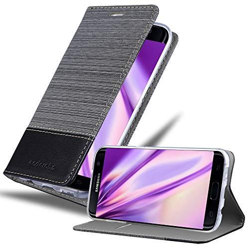 Cadorabo Funda Libro para Samsung Galaxy S7 Edge en Gris Negro - Cubierta Proteccíon con Cierre Magnético, Tarjetero y Función de Suporte - Etui Case Cover Carcasa