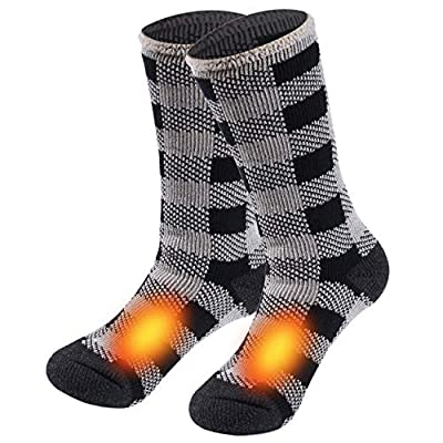 Hiking Thermal Socks, Sunew Womens Warm Heat Trapping Crew Skiing Soft Thick Insulated Cold Winter Heavy Fuzzy Vintage Boots Trekking Snowboarding Socks Trekkers Girls Gift,1 Pack Grid Medium