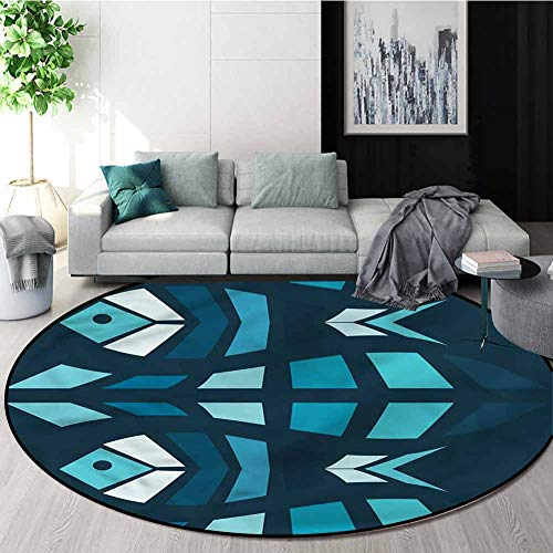 Best Price RUGSMAT Mosaic Washable Creative Modern Round Rug,Ceramic Style Fractal Fish Study Comput...