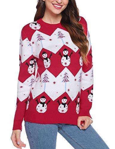 iClosam Maglioni Donna Natalizi Invernali Cotone Casual Manica Lungo Maglione Pullover Sweatshirt Felpa (Rosso, XL)