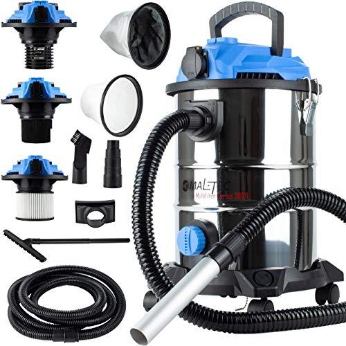 MalTec Industriestaubsauger | Mehrzwecksauger Beutellos 1800W | 25 Liter | Nass und Trockensauger | für die Reinigung im Innen- & Außenbereich | 5 Filter |