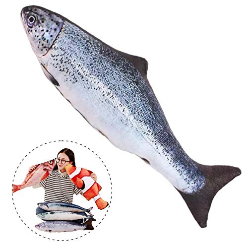 Simulation Fish Plush Toy Soft Fish Toy Pillow Cushion Stuffed Toy Oversized Pillow Creative Gift Home Decor 23.6 in, Salmon