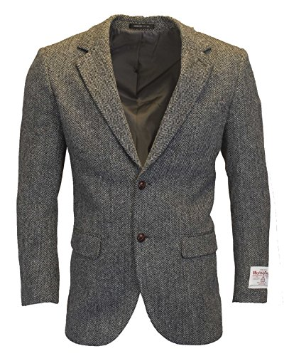 Walker & Hawkes - Mens Classic Scottish Harris Tweed Herringbone Country Blazer Jacket - Steel Gray - 42