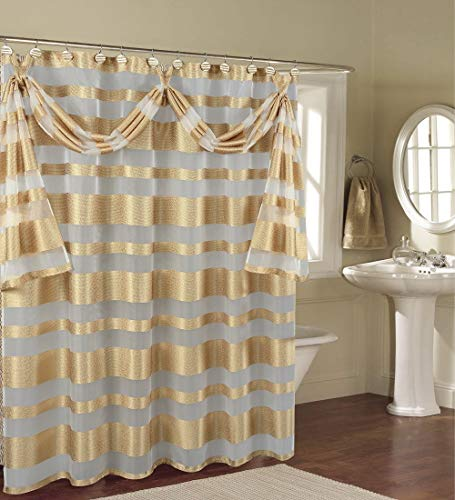 "BH Home & Linen Decorative Sheer Scarf Shower Curtain with Floral & Striped Designs 70"" x 72 Inch Made of 100% Polyester. (Marquis Gold)"