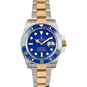 Fashion Shopping Rolex New Submariner 116613 Yellow Steel Gold Ceramic Blue Box/Paper/WTY