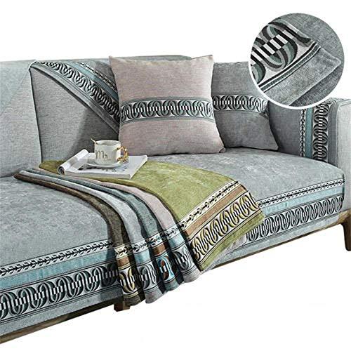 Funda de sofá Bordada para Mascotas,Perros,niños,Alfombrilla de Chenilla,Fundas de sofá Reversibles,Protector de sofá de Agarre Antideslizante,Funda de sofá seccional,Gris,90X210cm