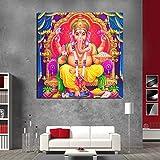 Ganesha DIY de Pintura al óleo, Pintura por número Kits del Adulto, Pintura crílica40x40cmPintura sin Marco