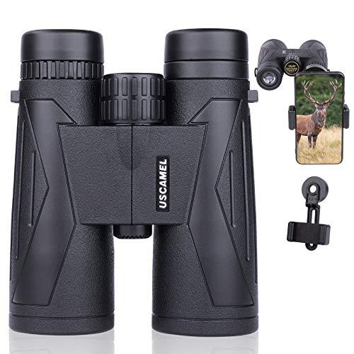 USCAMEL Prismáticos compactos de 12 x 42, profesionales HD para adultos prismáticos, Binoculares BAK4 con adaptador para teléfono móvil para observación de aves, camping, conciertos, turismo