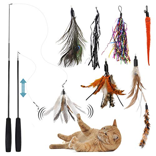 HAPPY HACHI Juguetes Plumas para Gatos, 10 Piezas Juguete Interactivo Varita Juego Retráctil para Gatito Plumas con Campanas Cinta de Color