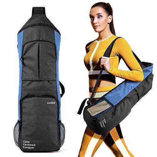 Warrior2 Yoga Mat Carrier Bag, Yoga Sling Backpack Fits 1/2 Inch Thick Mat, Large Zipper Pockets & Water Bottle Holders   Yoga Mat Gym Bag for Women Men Yoga Workout Pilates Cycling Running Travel