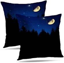 THEFLOWERSHAVE Standard Pillow Cases,Cotton and Ployster Blend Throw Pillow Covers,Silhouettes Cushion Cover for Sofa Bed Home Car Set of 2 18x18 Inch,Silhouettes Trees