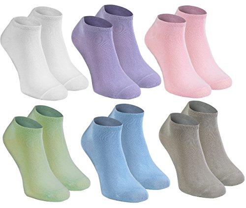 Rainbow Socks - Damen Herren Bunte Sneaker Bambus Socken - 6 Paar - Weiß Violett Rosa Pistazie Blau Beige - Größen 42-43