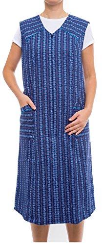 Tobeni Damen Kittelschürze lang mit Reissverschluss und Taschen ohne Arm 100% Baumwolle Farbe Design 34 Grösse 50