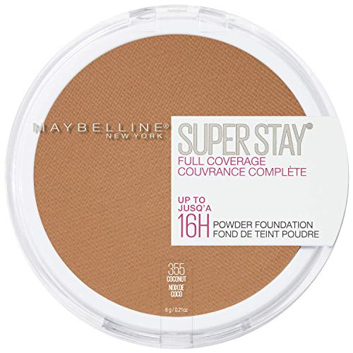 Maybelline New York Super Stay Full Coverage Powder Foundation Makeup Matte Finish, 355 Coconut, 0.21 oz