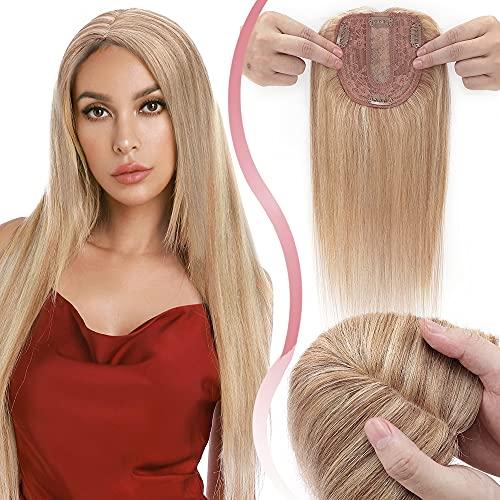 Elailite Lace Hair Topper Donna Clip Capelli Veri Extension Protesi Balayage Human Hair Indiani 10cm*12cm con Silk Lace Toupet Toupee 25cm 35g # Marrone Dorato mix Biondo Chiarissimo