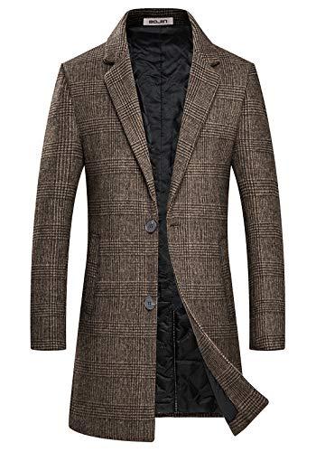 Mens Trench Coat Wool Blend Top Pea Coat Winter Long Single Breasted Overcoat (1966) - Brown Plaid L