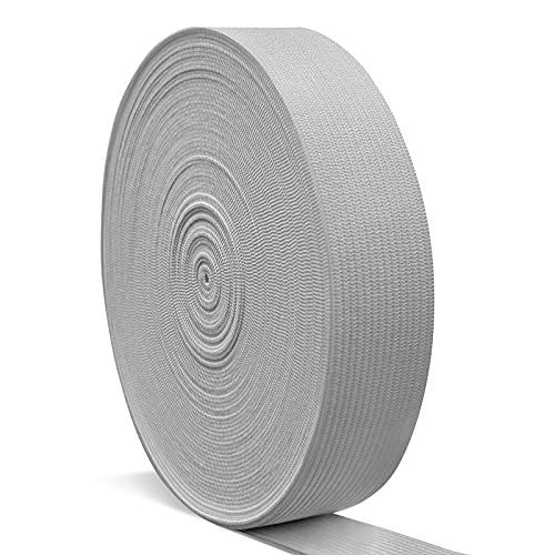Elastic Bands for Sewing 1 Inch, Hengiee Braided Elastic for Wigs, Waistband, Skirt, Pants, Headband, Bed Sheets, Kids Clothes, Craft DIY Projects(Light Gray, 12 Yard)