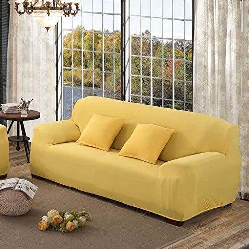 SLOUD Funda de sofá, para 1,2,3,4 Asiento, Spandex Stretch, con Dos Fundas de Almohada, Funda de sofá Antideslizante-Encanto Amarillo-4 plazas