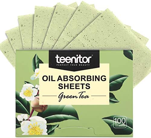 Teenitor Oil Blotting Sheets 100 Sheets Green Tea Oil Absorbing Tissues Paper Large 10cmx7cm product image