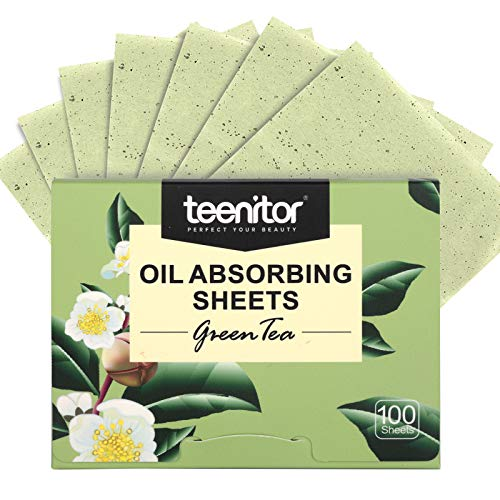 Teenitor Oil Blotting Sheets, 100 Sheets Green Tea Oil Absorbing Tissues Paper, Large 10cmx7cm Oil...