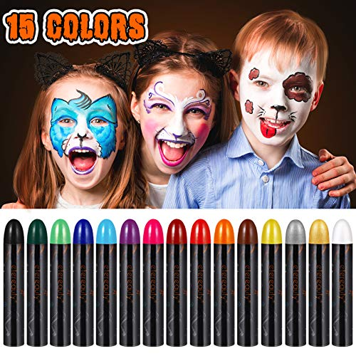 Face Painting kits for Kids 15 Colors Face Paint Kit 【2020 Newest】Non-toxic Body Paints for Adults Washable Face Paint Crayons Halloween Makeup Kit Professional Safe for Birthday and Cosplay Party