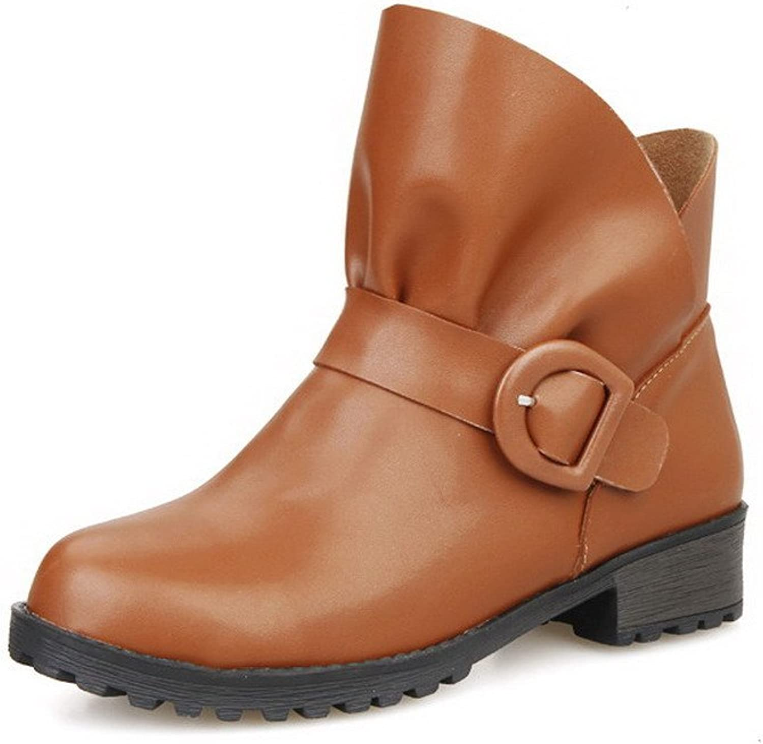 WeenFashion Women's Ankle-high Solid Pull-On Round Closed Toe Low-Heels Boots