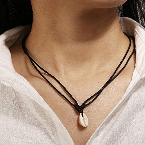 Jovono Boho Elfenbein Muschel Anhänger Choker Halsketten Mode Halskette Kette Schmuck für Frauen und Mädchen (Silber)