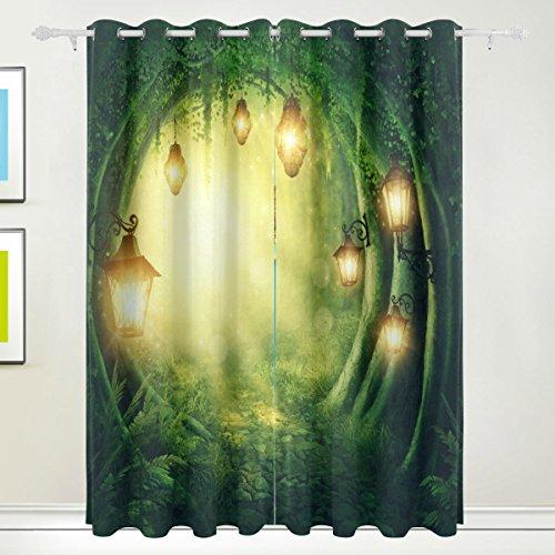 Rideau de fenêtre, Luxe Fantastique Forêt Lanterne Impression Isolation thermique épais Super Doux Tissu de polyester Décoration de maison avec œillet 2 panneaux pour chambre à coucher Salon