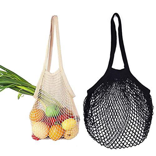 Lot de 2 sacs en coton, filet à provisions au quotidien, en coton, réutilisable, protection de l'environnement, sac de courses pour légumes, fruits, livres
