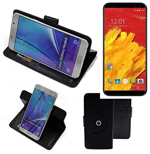 K-S-Trade® Hülle Schutz Hülle Für M-Horse Pure 3 Handyhülle Flipcase Smartphone Cover Handy Schutz Tasche Bookstyle Walletcase Schwarz (1x)