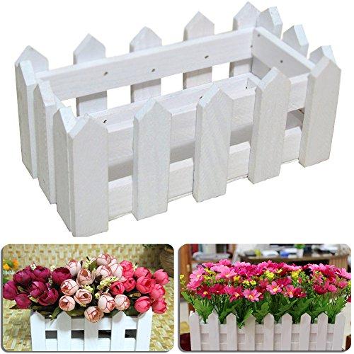 Lembeauty – Jardinière décorative en bois style mini clôture pour décoration d'intérieur ou de jardin avec mousse plastique, Bois dense, S: 16cm