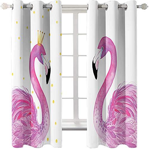 zpangg Verdunkelungsvorhang Kräuselband Flamingo Mit Ösen Gardine Für Schlafzimmer, Kinderzimmer 2 Stück Verdunkelungsvorhänge Farbige Vorhänge 184×214Cm