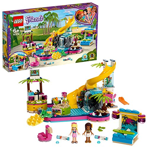 LEGO Friends LafestainPiscinadiAndrea con le Mini-doll di Andrea eStephanie,Postazione DJ, Acquario e Pesce, 41374
