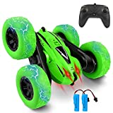 Remote Control Car, Bukm RC Stunt Cars, 4WD 2.4Ghz Double Sided 360° Flips Rotating Vehicles, Off Road Stunt Car for 3 4 5 6 7 8-12 Year Old Kids Boys Girls Christmas Birthday Gift (Green)