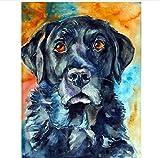 Nonebranded Pintura Al Óleo Manualidades para Pintar Resumen Perro Negro Animal Cuadro Lienzo Pintura por Numeros Adultos Niños DIY 40X50Cm