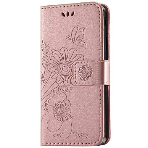 kazineer Galaxy J5 2017 Hülle, Samsung J5 2017 Handyhülle Leder Tasche Schutzhülle Blume Muster Etui für Samsung Galaxy J5 2017 Case (Pink-Gold)