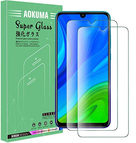 AOKUMA Glass for Huawei P Smart 2020 Tempered Glass Screen Protector, [2 Pack] Premium Quality Guard Film, Case Friendly, Comfortable Round Edge,Shatterproof, Shockproof, Scratchproof oilproof