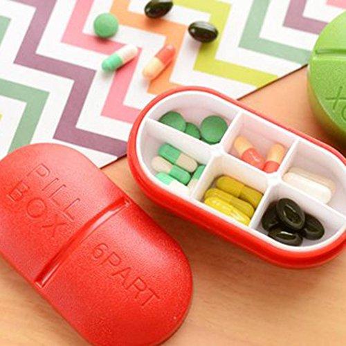 Voiks 6 compartment Travel Pill Box Organizer Tablet Medicine Storage Dispenser Holder...