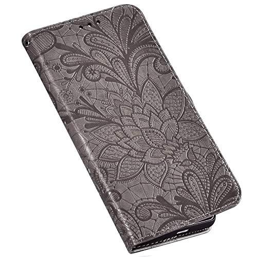 QPOLLY Kompatibel für Google Pixel 3A Hülle Leder Tasche Flip Case Spitzeblume Muster Handytasche Magnet Schutzhülle im Brieftasche-Stil mit Kartenfächer Standfunktion,Grau