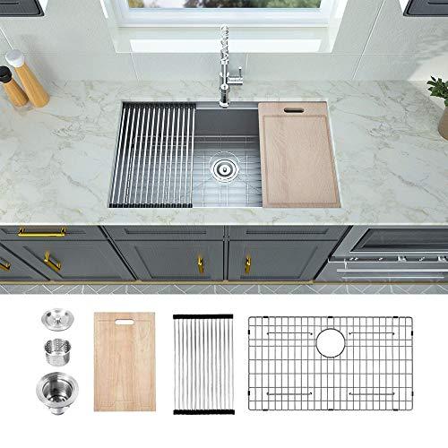 Logmey 81,3 cm Küchenspüle Unterbauspüle mit doppelter Ledge Arbeitsstation 1 Schüssel 18 Gauge Edelstahl Küchenspüle
