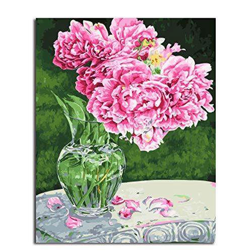 Flor pintura al óleo en botella de agua diy pintura digital por número para colorear pintura de flores y pintura decoración del hogar 40x50 cm