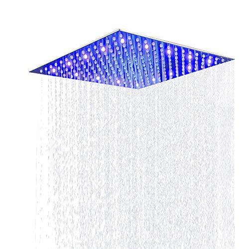 Suguword 30 * 30cm Luxus LED Einbau-Duschkopf Regendusche Deckenbrause Quadrat Überkopfbrause superflach Farbewelchseln nach Temperatur