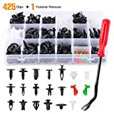 GOOACC 425 Pcs Car Body Retainer Assortment Clips Set Tailgate Handle Rod Clip & Fastener Remover - 19 Most Popular Sizes Auto Push Pin Rivets Set -Door Trim Panel Clips for GM Ford Chevy Toyota Honda