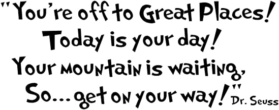 Witkey Dr seuss You're off to great places... Wall Vinyl Sticker Decals Quote Saying Decor Art Bedroom Design Mural