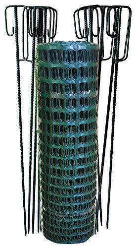 UvV Set 50m Fangzaun, Weidezaun + 10 Absperrleinenhalter grün, Absperrnetz Maschenzaun Bauzaun Rolle Kunststoff extrem Reissfest, 250gr (12,5 kg)