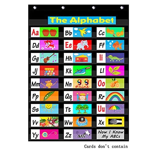 Headif Classroom Pocket Charts, Heavy Duty Pocket Charts for Classroom Teacher Standard Sentence Strips and Word Cards, 10 Pocket Chart for Classroom or Home Use - Black